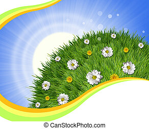 Nature background with green grass and sun light for text