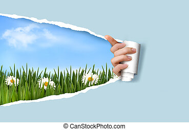 Nature background with green grass and sky and ripped paper. Vector illustration.