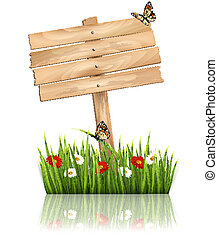 Nature background with green grass and flowers and wooden ...