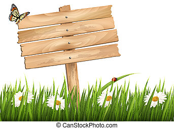 Nature background with green grass and flowers and wooden sign Vector.