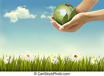 Nature background with hands holding a globe. Vector illustration.