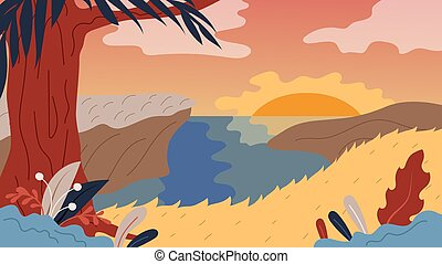 Nature Background With Landscape, River, Tree And Sunset. Panorama of Nature Landscape Valley on Sunset or Sunrise With Beautiful Hills. Relax Landscape Design. Cartoon Flat Style. Vector Illustration