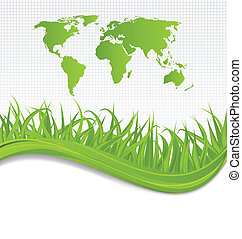 Nature background with map earth and grass