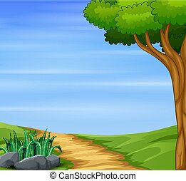Nature background with path road and big tree