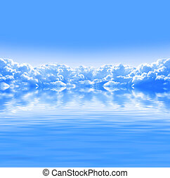 Nature background with white clouds in blue sky