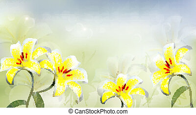Nature background with white lilies. Vector.