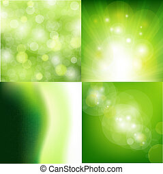Nature Backgrounds Set - 4 Nature Backgrounds, Vector ...