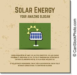 Nature banner, ecology poster with text for presentation, quotes. Eco organic labels and cards. Solar energy concept. Vector.