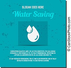 Nature banner, ecology poster with text for presentation, quotes. Eco organic labels and cards. Save water concept. Vector.