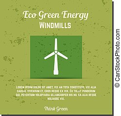 Nature banner, ecology poster with text for presentation, quotes. Eco organic labels and cards. Green energy - windmills concept. Vector.