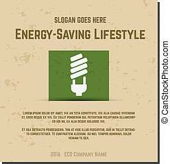 Nature banner, ecology poster with text for presentation, quotes. Eco organic labels and cards. Energy saving lifestyle concept. Vector.