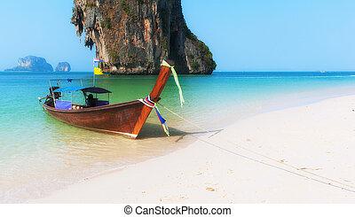 nature, bois, asie, océan, exotique, arrière-plan., paysage, thaïlande, plage, bateau