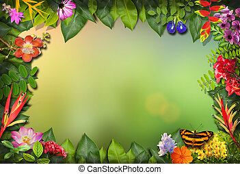 Nature border with flower and green leaf background, Nature border mockup template for your nature concept design