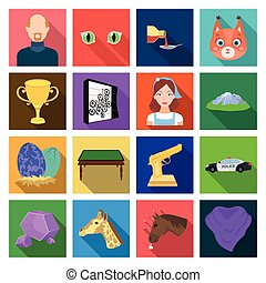 , nature, business, travel and other web icon in flat style. yoke, accessories, competitions, icons in set collection.