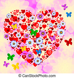 Nature Butterflies Represents Heart Shape And Bloom -...