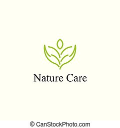 Nature care icon logo template