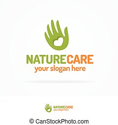 Nature care logo set consisting of hand and heart