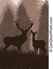 nature, cerf, illustration, pluie, sauvage, animé, paysage