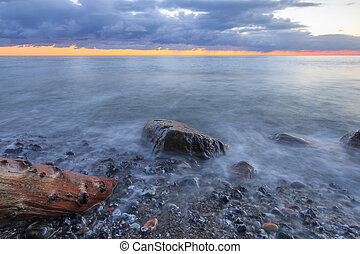 nature coast baltic sea with dramatic background