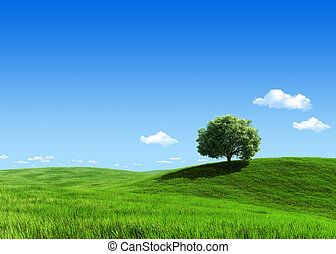 Nature collection - Green meadow 1 tree template -...
