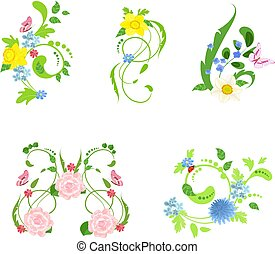 nature collection of abstract floral patterns for your design