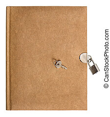 nature colored retro diary book with lock and key