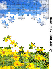 Nature concept - 3d puzzles - Vertical background with 3d ...