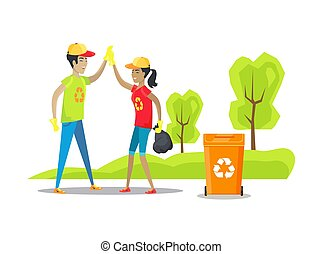 Nature conservation and people coping with cleaning of territory, collected waste placed in bag, metal container for recycling vector illustration
