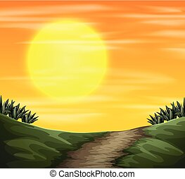 nature, coucher soleil, vue