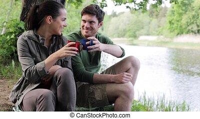 nature, couple, 7, boire, tasses, heureux
