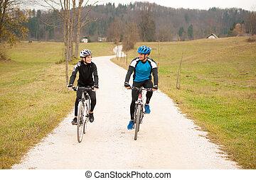 nature, couple, jeune, automne, après-midi, faire vélo