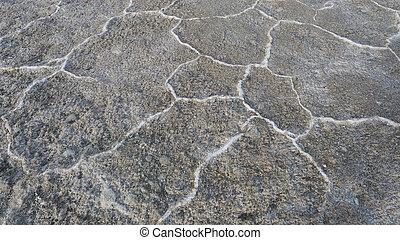 Nature crack ground background texture in Emerald Salt Lake, Qinghai Province China