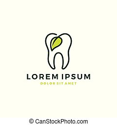 nature dental leaf logo tooth teeth outline line vector icon
