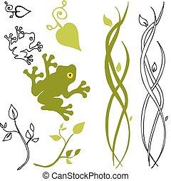 Nature Design Elements - An image of a frog, leaf and stem ...