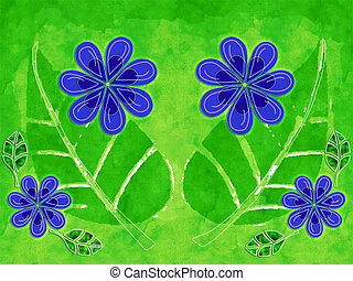 Nature Detail - A nature illustration with flowers and...