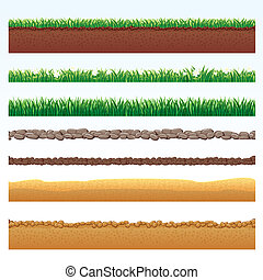 Ground Cutaway, Desert and Grass Elements, Vector Illustrations