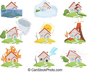 Nature disaster damage. Fire volcano water wind tree destruction tsunami vector cartoon pictures