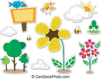 Nature Doodle Stickers Design Elements