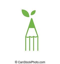 nature eco Pencil Logo Icon Vector Template Illustration Design