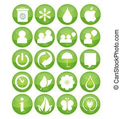 nature eco symbola set green color
