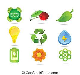 nature eco symbols set green color