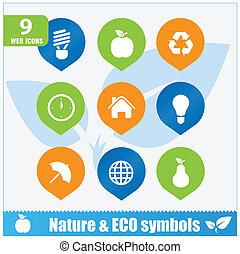 Nature ecology symbols set isolated