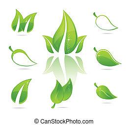 nature elegance green eco leafs set