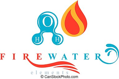 Nature elements harmony logo for use as corporate emblem, fire and water balance.