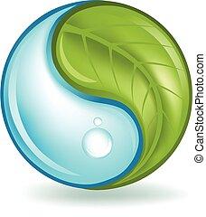Nature Elements Yin Yang - Plant and water yin yang symbol.