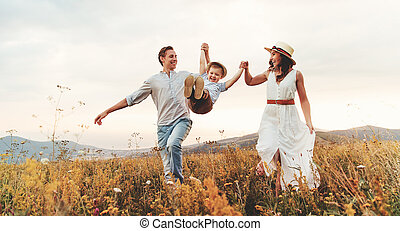 nature, enfant, coucher soleil, père, famille, fils, heureux...