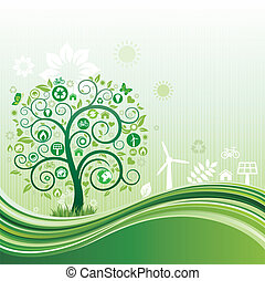 nature environment background - environment icon and tree, ...