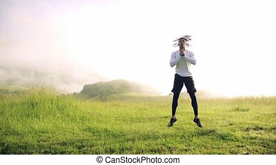 nature., exercice, pré, homme, course, jeune, mélangé, dehors