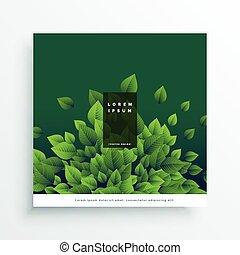 nature, feuilles, couverture, vecteur, conception, vert, carte