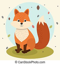 nature, feuilles, renard, animal, sauvage, tomber, dessin animé, paysage